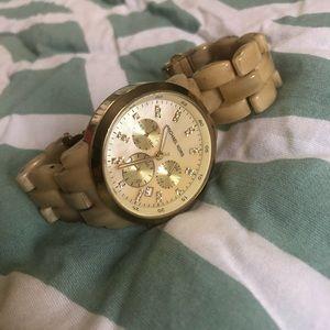 Women's MK5217 Oversized Horn Watch, Ivory Tone